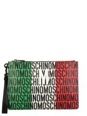 MOSCHINO - CLUTCH CON STAMPA TRICOLORE LOST & FOUND