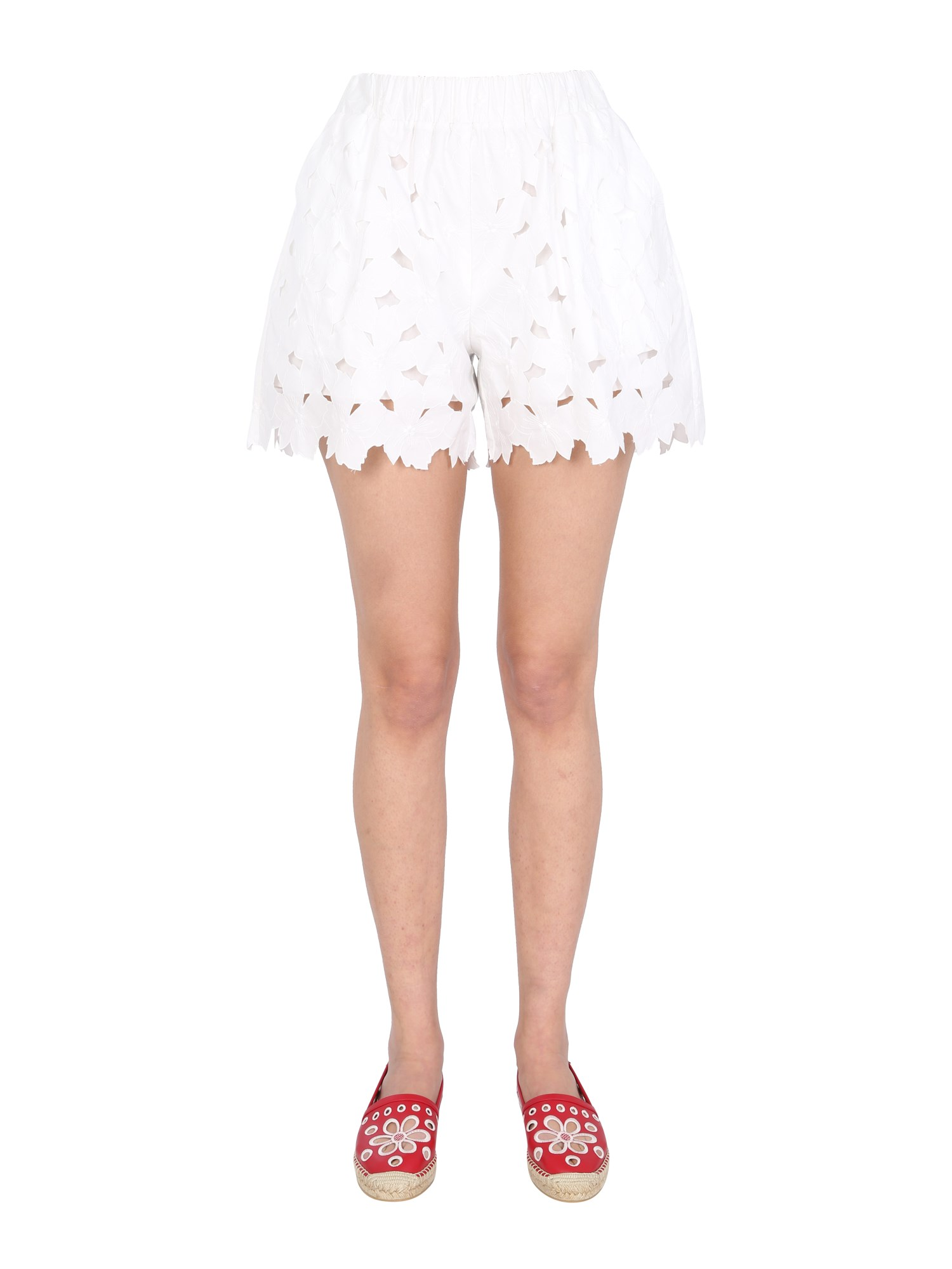 Red Valentino Poplin Shorts In Bianco