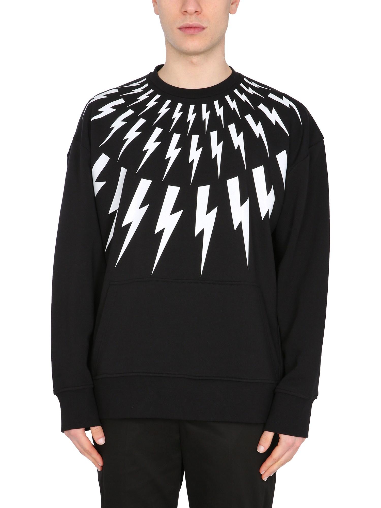"""Neil Barrett Sweatshirts """"FAIR ISLE THUNDERBOLT"""" SWEATSHIRT"""