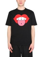 LANVIN - T-SHIRT CON MOTIVO BOCCA APPLICATO