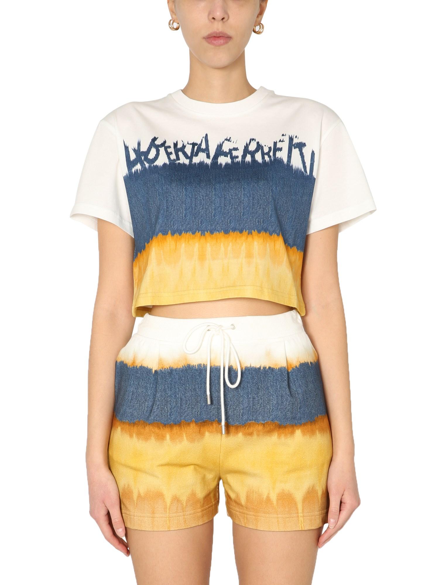 Alberta Ferretti T-shirts CROPPED PRINTED T-SHIRT