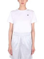 HELMUT LANG - T-SHIRT CROPPED CON LOGO FLOCCATO