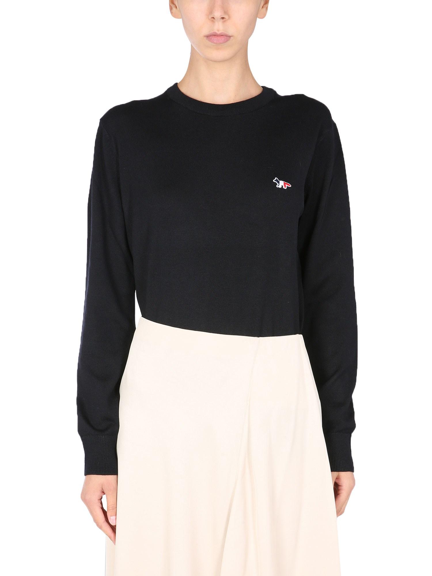 Sweater with tricolour fox patch - maison kitsuné - Modalova