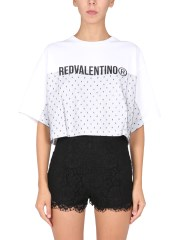 RED VALENTINO - T-SHIRT CON TULLE POINT D'ESPRIT