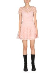 RED VALENTINO - ABITO IN TULLE POINT D'ESPRIT
