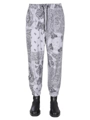 MSGM - PANTALONI JOGGING CON STAMPA PAISLEY PATCHWORK ALL OVER