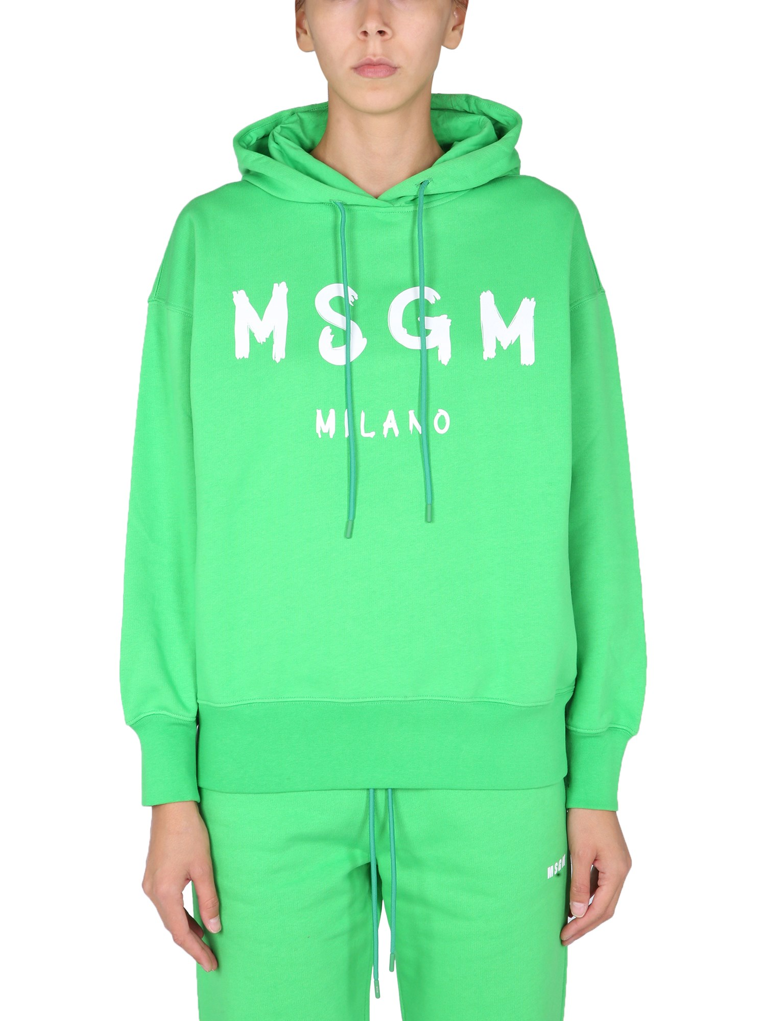 Msgm Sweatshirt With Brushed Logo In Verde