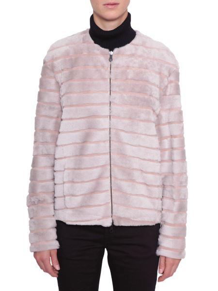 Drome - Zipped Fur Coat With Suede Details